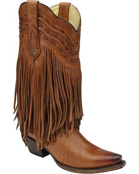 Corral Tan Fringe and Whip Stitch Cowgirl Boots - Snip Toe