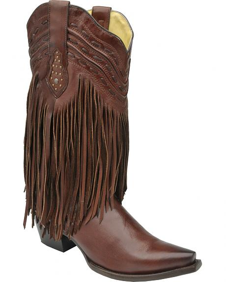 Corral Chocolate Brown Fringe and Whip Stitch Cowgirl Boots - Snip Toe