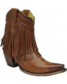 Corral Brown Fringe and Whip Stitch Short Boots - Snip Toe