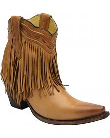 Corral Tan Fringe and Whip Stitch Short Boots - Snip Toe