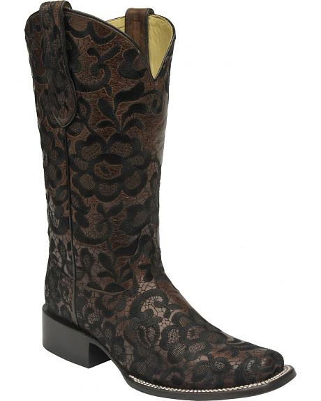 Corral Brown and Black Floral Lace Cowgirl Boots - Square Toe