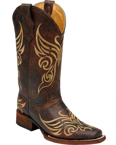 Circle G Distressed Brown Bone Embroidered Cowgirl Boots - Square Toe