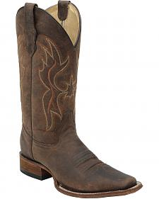 Circle G Distressed Brown Cowgirl Boots - Square Toe