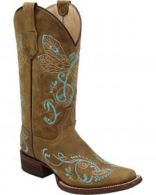 Corral Tan Embroidered Dragonfly Cowgirl Boots - Square Toe