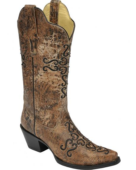 Corral Distressed Bronze Crystal Embroidered Cross Cowgirl Boots - Snip Toe
