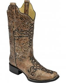 Corral Distressed Bronze Crystal Embroidered Cross Cowgirl Boots - Square Toe