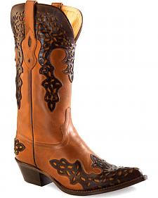 Old West Women's Brown Overlay Leather Western Boots - Pointed Toe