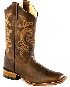 Old West Women's Rustic Brown Western Boots - Square Toe