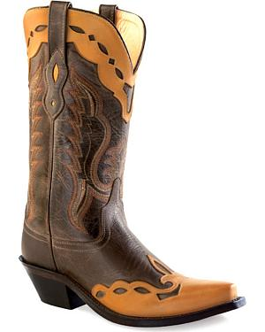 Old West Womens Brown Overlay Western Boots - Snip Toe