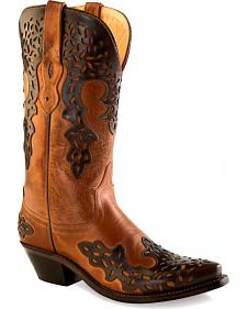 Old West Women's Dark Brown Overlay Western Boots - Snip Toe