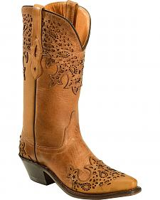 Old West Women's Two-Tone Brown Overlay Western Boots - Snip Toe