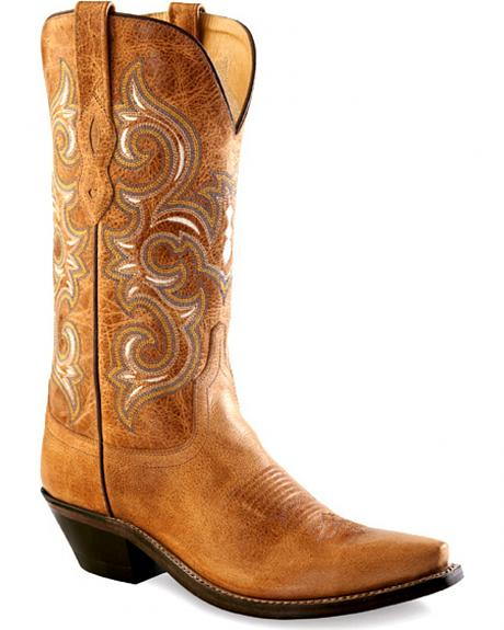 Old West Women's Rustic Tan Western Boots - Snip Toe