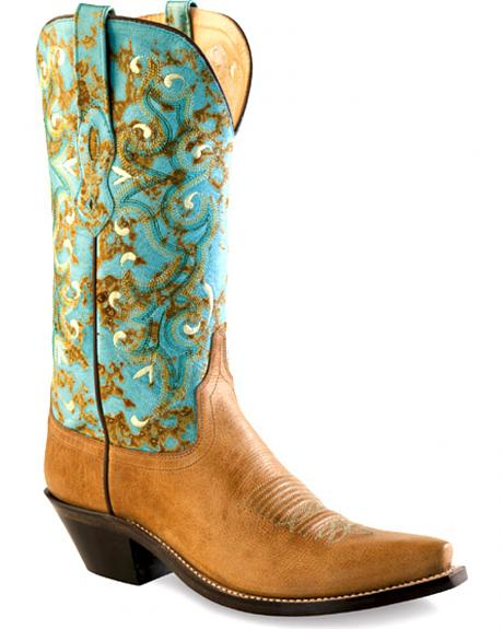 Old West Women's Tan and Turquoise Western Boots - Snip Toe