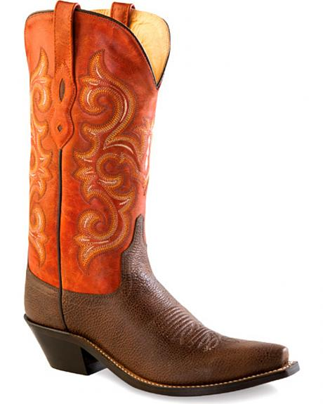 Old West Women's Brown and Orange Western Boots - Snip Toe