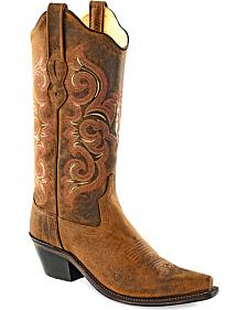 Old West Women's Distressed Brown Western Boots - Snip Toe