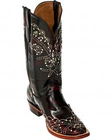 Ferrini Black Cherry Wild Diva Cowgirl Boots - Square Toe