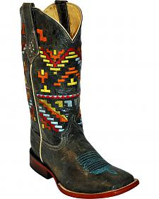 Ferrini Aztec Pattern Cowgirl Boots - Square Toe