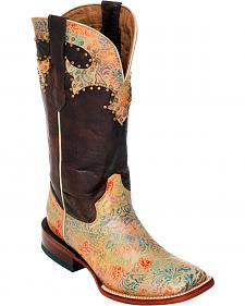 Ferrini Chocolate Medley Cowgirl Boots - Square Toe