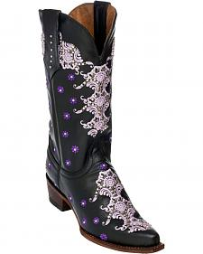 Ferrini Black Country Lace Cowgirl Boots - Snip Toe