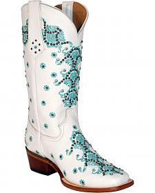 Ferrini White Country Lace Cowgirl Boots - Square Toe