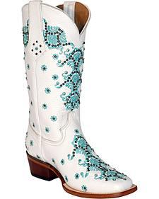 Ferrini White Country Lace Cowgirl Boots - Square Toe