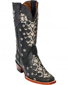 Ferrini Grey Country Lace Cowgirl Boots - Square Toe