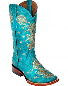 Ferrini Turquoise Country Lace Cowgirl Boots - Square Toe