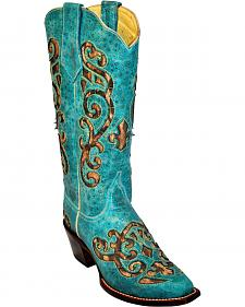 Ferrini Leopard Inlay Cowgirl Boots - Pointed Toe