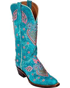 Ferrini Turquoise Jubilee Studded Cowgirl Boots - Medium Toe