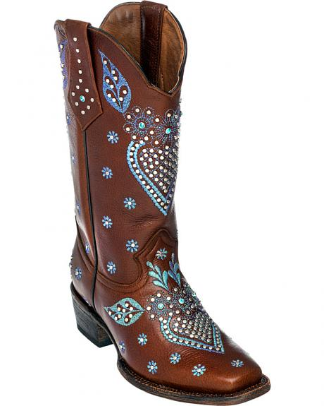 Ferrini Brown Jubilee Studded Cowgirl Boots - Square Toe