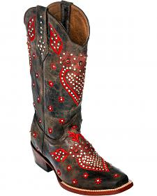 Ferrini Chocolate Jubilee Studded Cowgirl Boots - Square Toe