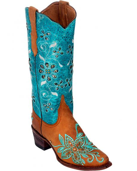 Ferrini Tan Star Power Cowgirl Boots - Pointed Toe