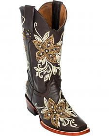 Ferrini Chocolate Star Power Cowgirl Boots - Square Toe