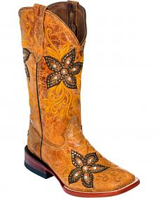 Ferrini Tan Star Power Cowgirl Boots - Square Toe