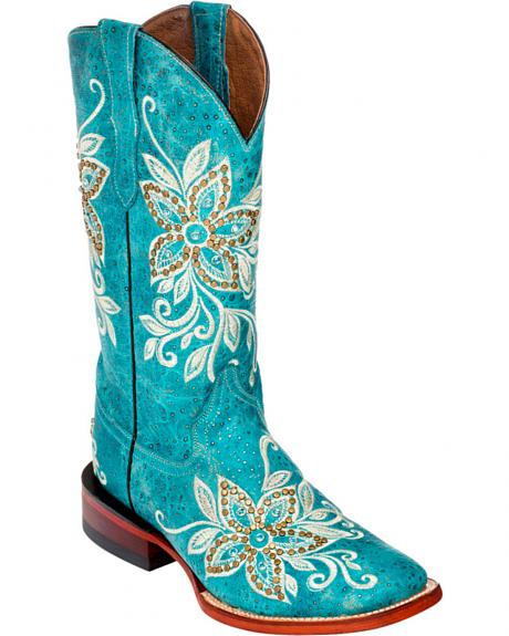 Ferrini Turquoise Star Power Cowgirl Boots - Square Toe
