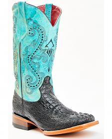 Ferrini Women's Black Caiman Print Cowgirl Boots - Square Toe