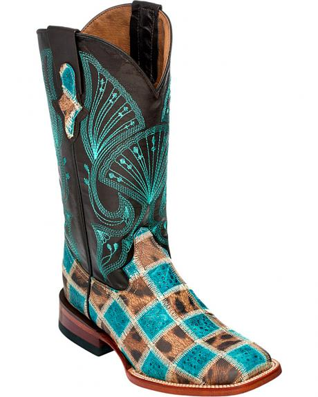 Ferrini Women's Leopard Teal Patchwork Cowgirl Boots - Square Toe