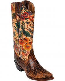 Ferrini Vintage Gator Belly Print Cowgirl Boots - Snip Toe