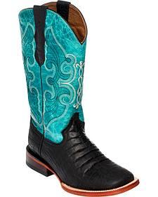 Ferrini Women's Black Belly Print Cowgirl Boots - Square Toe