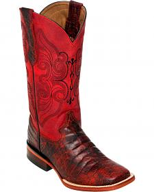 Ferrini Women's Black Cherry Belly Print Cowgirl Boots - Square Toe