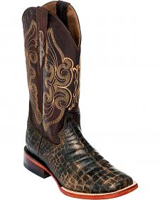 Ferrini Women's Chocolate Belly Print Cowgirl Boots - Square Toe