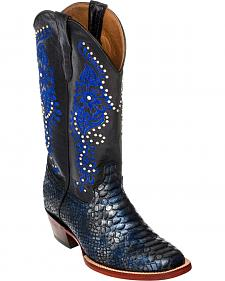 Ferrini Navy Python Print Cowgirl Boots - Square Toe