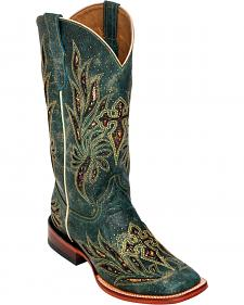Ferrini Teal Vixen Cowgirl Boots - Square Toe