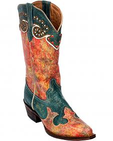 Ferrini Teal Sweetheart Cowgirl Boots - Snip Toe