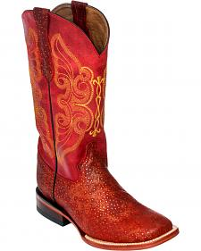 Ferrini Red Sparkle Cowgirl Boots - Square Toe