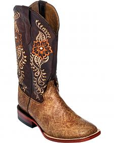 Ferrini Women's Brown Boa Snake Print Cowgirl Boots - Square Toe