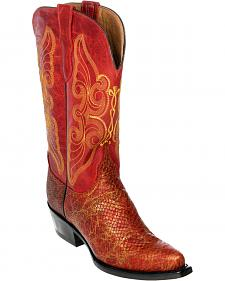 Ferrini Red Snake Print Cowgirl Boots - Pointed Toe
