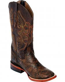 Ferrini Women's Chocolate Snake Print Cowgirl Boots - Square Toe