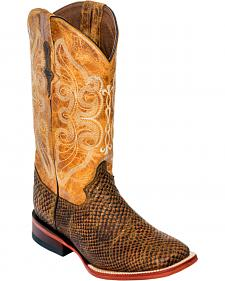 Ferrini Women's Brown Snake Print Cowgirl Boots - Square Toe