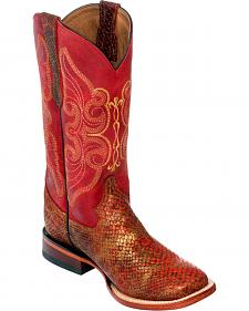 Ferrini Women's Red Snake Print Cowgirl Boots - Square Toe